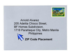 Sample of envelope with a Philippine postal stamp and address indicating area ZIP code.