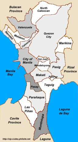 Map of Metro Manila, Philippines